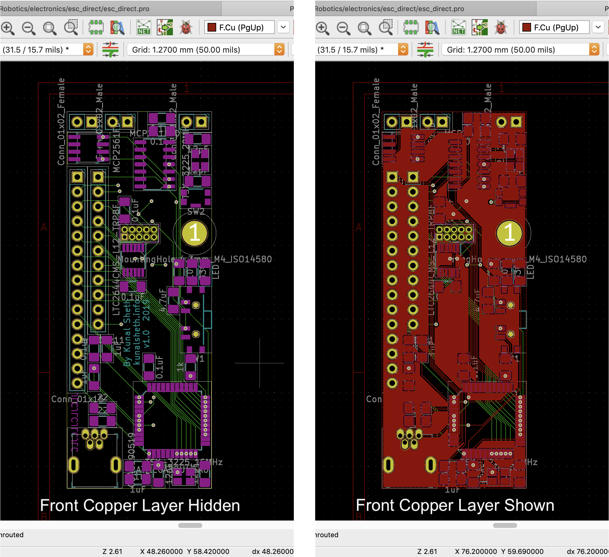 Laying out my first PCB in KiCad.